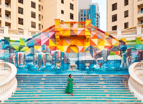 ashleigh walking down stairs at the sea of horses street art jbr