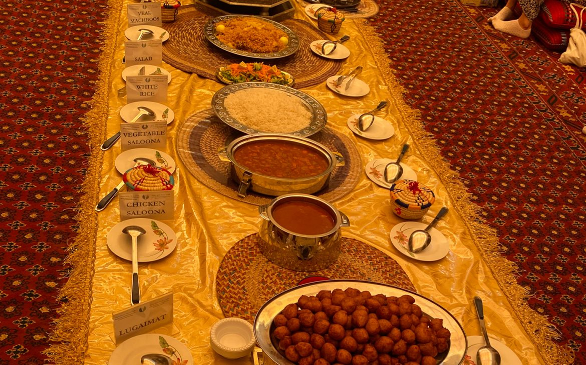 Traditional Emirati lunch buffet at Sheikh Mohammed Centre for Cultural understanding in Old Dubai