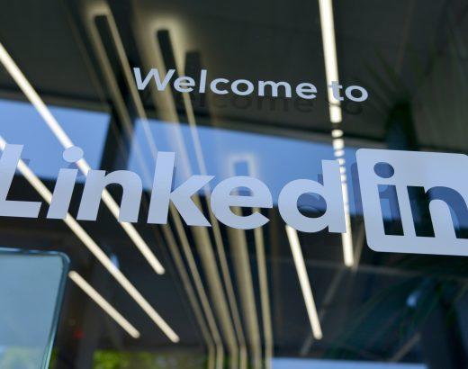 LinkedIn logo on window